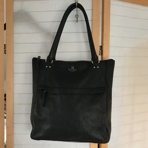 kate spade large black leather tote 2 top handles